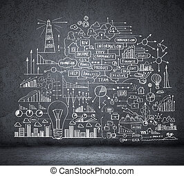 Business sketch on black wall - Business hand drawn sketch...