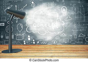 Business sketch on chalkboard