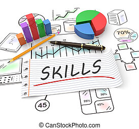 Business skills concept - Business skills, handwritten on...