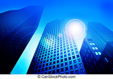 Business skyscraper buildings in blue tone. Office work, big...
