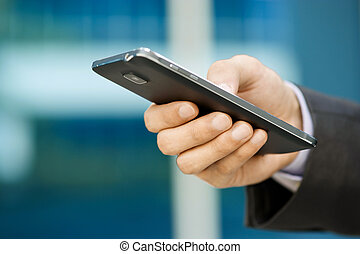 business, smartphone, doigt, homme, dactylographie, phablet