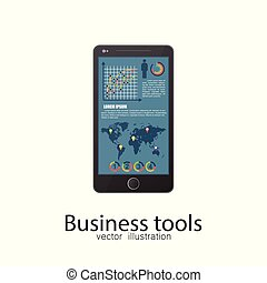 Business smartphone vector illustration isolated.