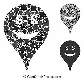 Business smiley map marker Composition Icon of Trembly Elements