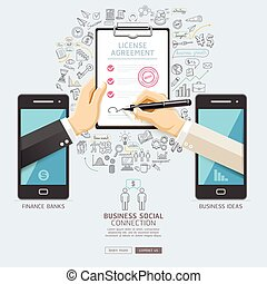 Business social connection technology conceptual design. Mobile and business hand signing contract on license agreement paper. Vector illustrations.