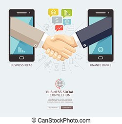 Business social connection technology conceptual design. Mobile and business handshake agreement through display of a smart phone. Vector illustrations.