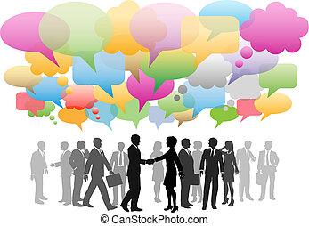 business, social, média, réseau, parole, bulles, compagnie