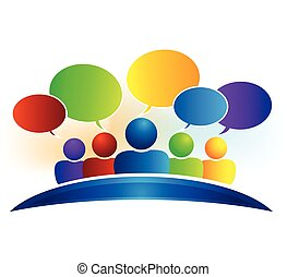 Business social media network speech talking bubbles