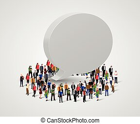 Business social networking and communication concept. People and chat bubble.