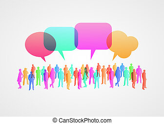 Business social networking and communication concept. People crowd with chat bubble.
