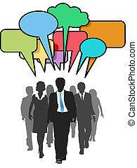 Business social people walk talk color bubbles