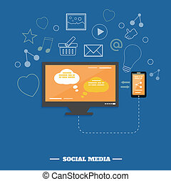 Business software and social media networking service concept