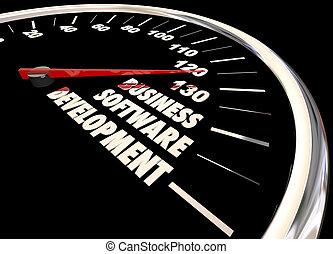 Business Software Development Speedometer 3d Illustration