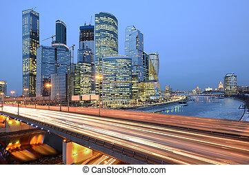 business, soir, route, vue, ville, center.