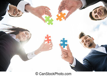 Business solution - Closeup of business people wanting to ...