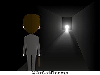 Business solution concept design of businessman walking at keyhole shape door in dark room