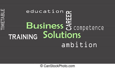Business Solution concept on black background. Business...