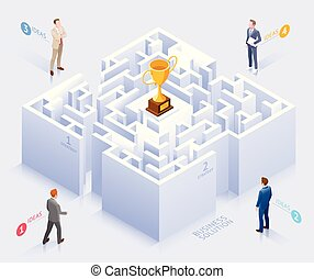 Business solution conceptual design. Businessman standing at labyrinth vector illustration.