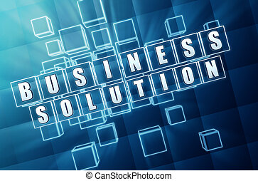 business solution in blue glass cubes