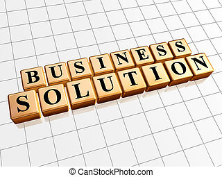 business solution in golden cubes