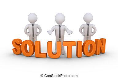 Business solution offering - Businessmen are standing behind...