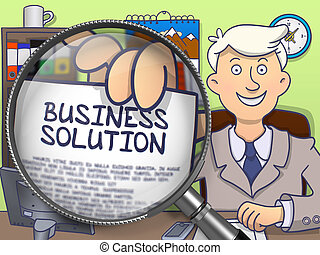 Business Solution through Magnifying Glass. Doodle Design.