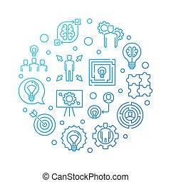 Business Solution vector blue round outline illustration