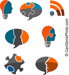 Business Solutions Icon Set - Set of seven stylized business...