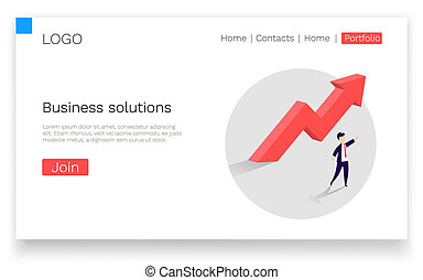 Business solutions. Upward arrow and a businessman showing the direction. Symbol of success, achievement.
