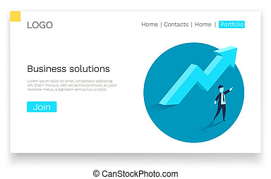 Business solutions. Upward arrow and a businessman showing the direction. Symbol of success, achievement. Web page concept. Vector illustration.