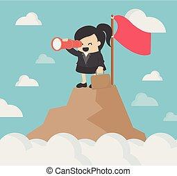 business, sommet, illustration, woman., mondiale, stockage