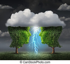 Business spark idea concept as two trees shaped as a head under a storm cloud creating a thunderbolt of lightning as a symbiotic success metaphor and creative collaboration unity.