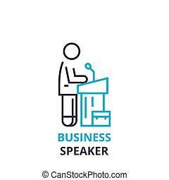 Business speaker concept , outline icon, linear sign, thin line pictogram, logo, flat vector, illustration
