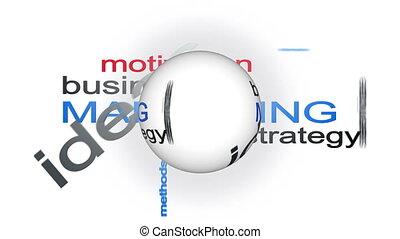 business, sphère, texte, stratégie, animation, mot, nuage, commercialisation