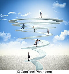 business spiral - business people on 3d abstract spiral
