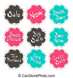 Business Splashes - Blots Icons with Sale - New - Best Buy - Best Choice - Big Sale Titles