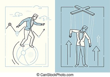 Business stability - set of line design style illustrations