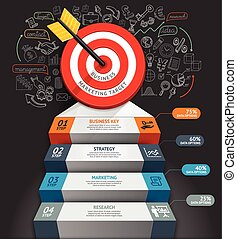 Business staircase conceptual infographics. Target with arrow and doodles icons. Can be used for workflow layout, banner, diagram, web design, infographic template.