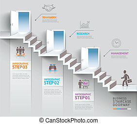 Business staircase doorway concept.
