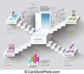 Business staircase thinking idea, Staircase doorway conceptual. Vector illustration. can be used for workflow layout, banner, diagram, number options, infographics, web design.