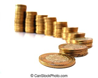business stairs - isolated coins, mexican pesos