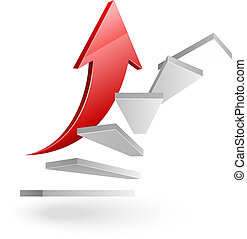 business rising up stairs to success with red arrow on white