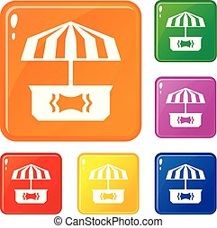 Business stall icons set vector color