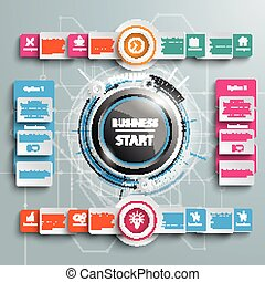 Business Start 4 Options Big Infographic 2 Circle Banners