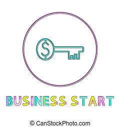 Business Start Round Web Linear Icon Template