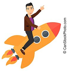 Business start up. - A man flying on the rocket with a...