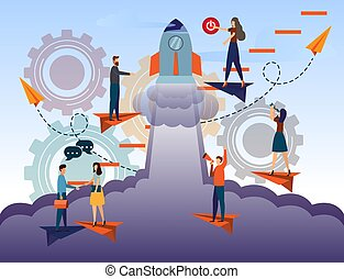 Business Start Up Concept for web page, business woman push start button for business start up. banner, social media. business project startup process, idea through planning and strategy, realization.