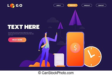 Business Start Up Concept for web page. Vector illustration, business project startup process, idea through planning and strategy, time management, realization.