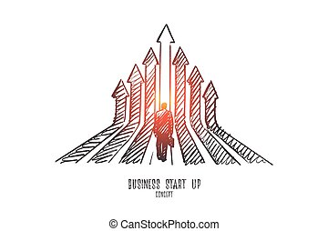 Business start up concept. Hand drawn isolated vector.