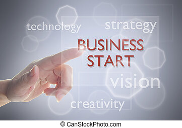 Business start up - Finger selecting business start on touch...