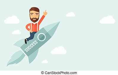 Business start up - Happy businessman flying on a rocket...